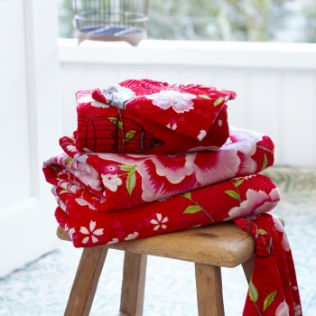Birds in Paradise Towel - Red