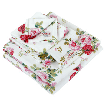 Antique Rose Bouquet Towel - White
