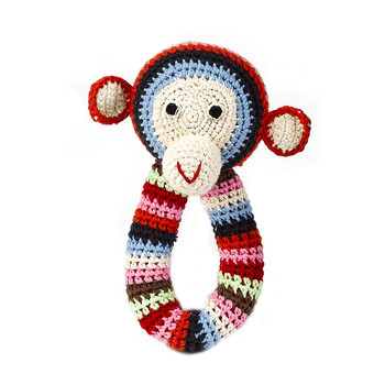 Crochet Chimp Ring Rattle - Multi