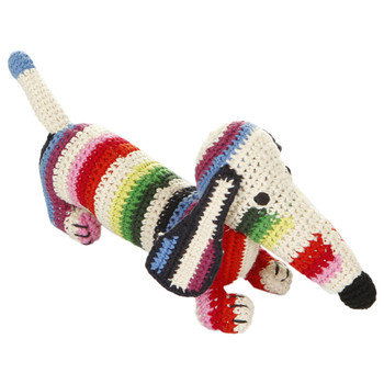 Dachshund Crochet Baby Toy - Mix Stripe