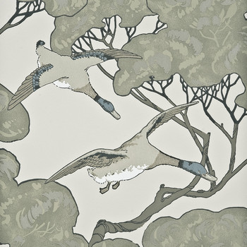 Flying Ducks Wallpaper - FG066/J80 Silver/Taupe