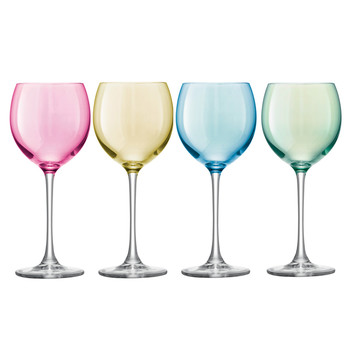Polka Assorted Wine Glasses - Set of 4 - Pastel