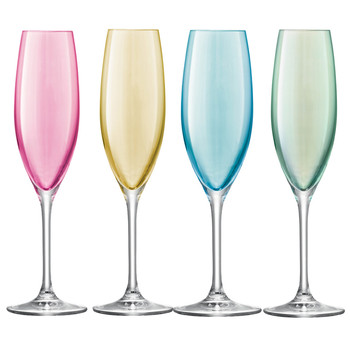 Polka Assorted Champagne Glasses - Set of 4 - Pastel