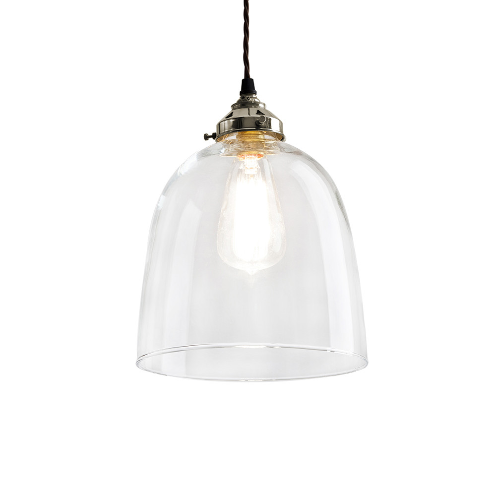 Old School Electric - Blown Glass Bell Pendant - Nickel - Large