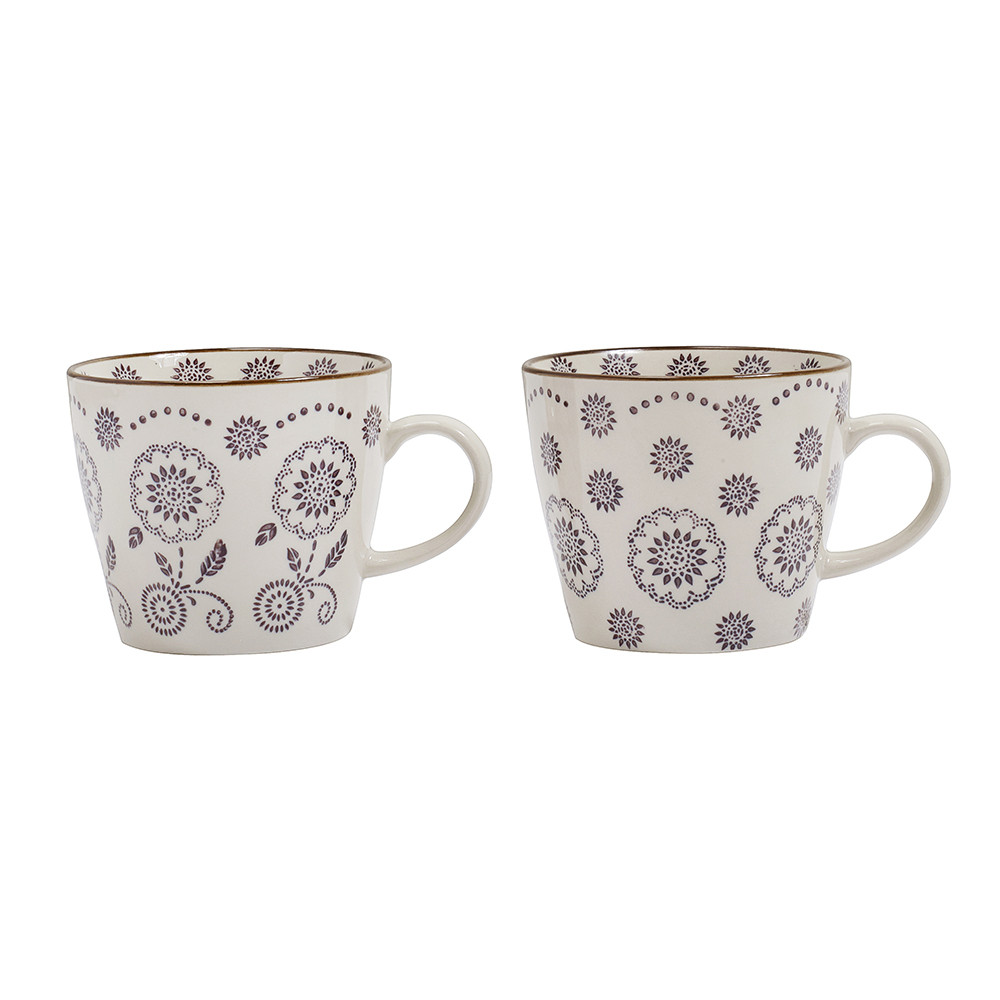 Nordal - Flora Mug - Aubergine - Set of 2