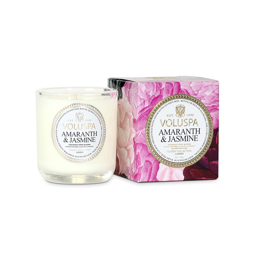 acheter voluspa bougie maison jardin amarante et jasmin 85g amara. Black Bedroom Furniture Sets. Home Design Ideas