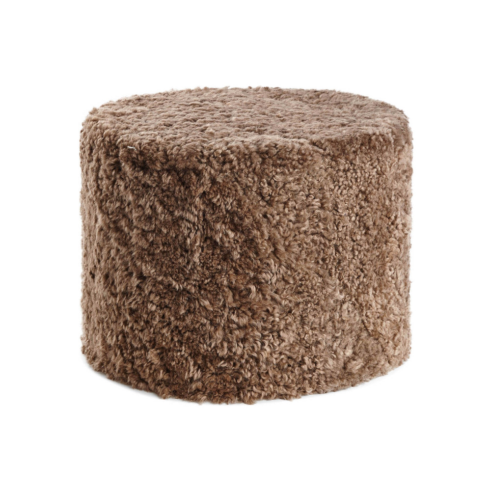 Essentials - Short Wool Curly Pouf - Taupe