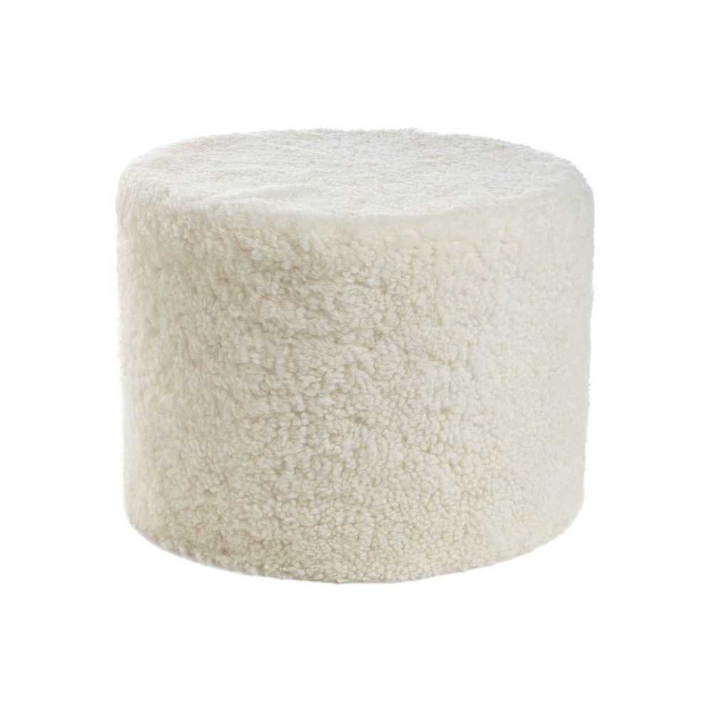 Essentials - Short Wool Curly Pouf - Ivory