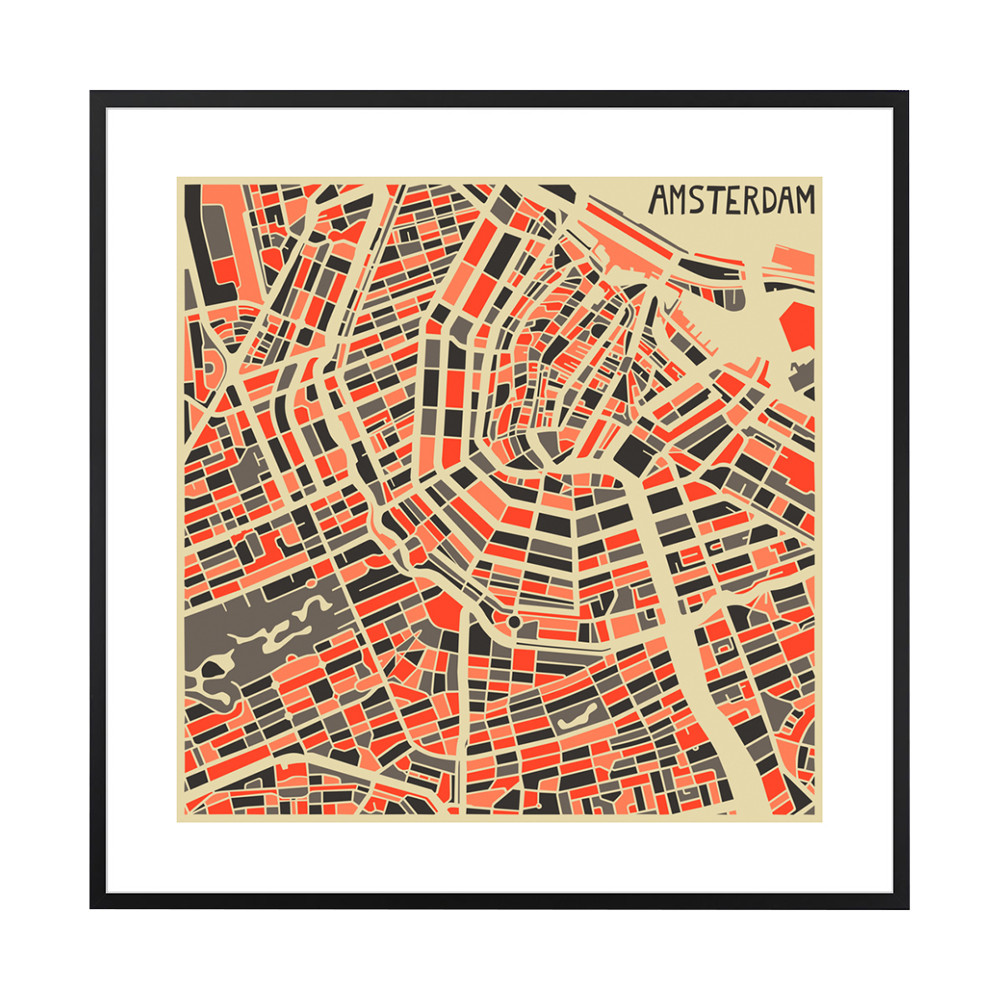 graphic about Printable Map of Amsterdam named Amsterdam Map Print - 40x40cm