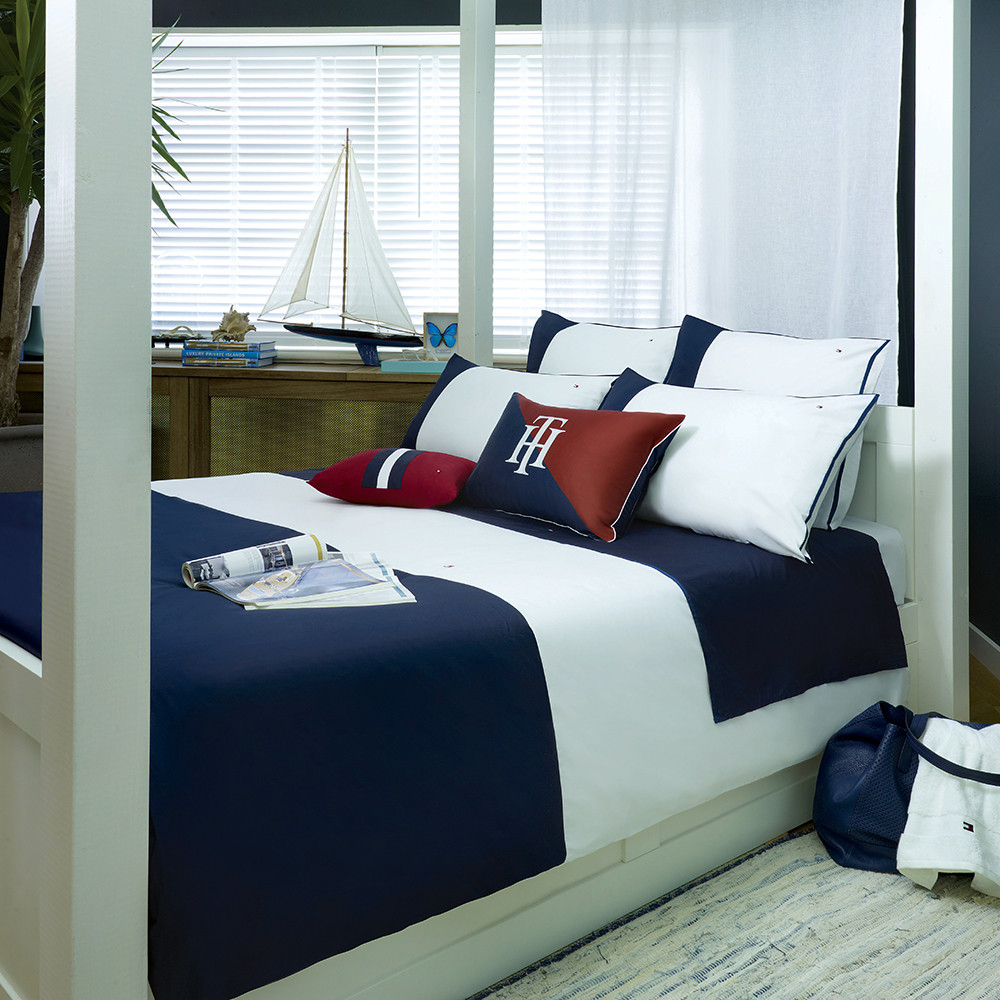 Buy Tommy Hilfiger Navy Colour Block Duvet Cover | Amara