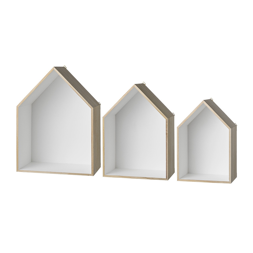 Bloomingville  White Wooden Display Houses  Set of 3
