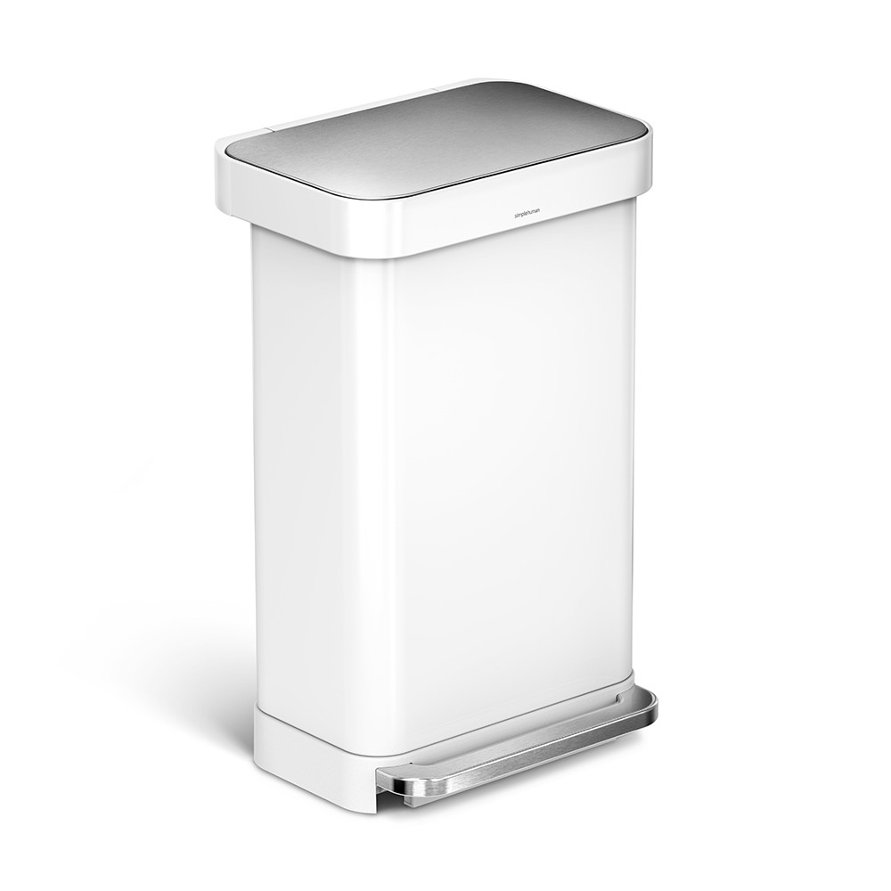 White Kitchen Bin buy simplehuman rectangular pedal bin with liner pocket - white