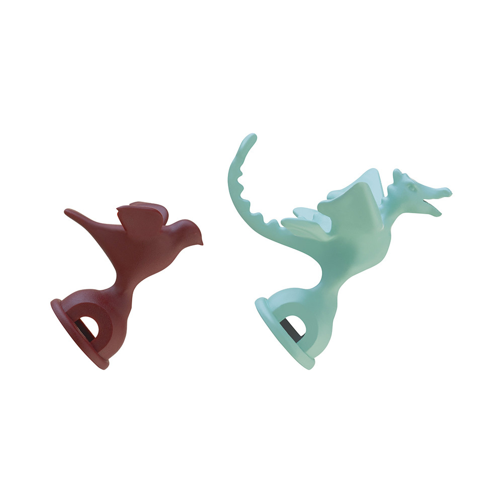 Alessi - Bird & Dragon Shaped Whistles - Red & Blue