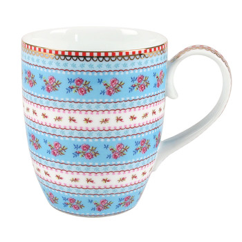 Large Ribbon Rose Mug - Blue