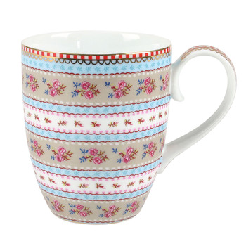 Large Ribbon Rose Mug - Khaki