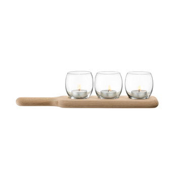 Paddle Tealight Holder Set & Oak Paddle - Clear - L34cm