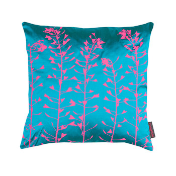 Heart Grasses Cushion - 45x45cm - Kingfisher/Hot Pink