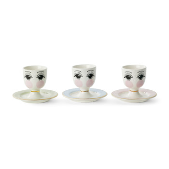 Egg Cup & Plate with Eyes Open Set