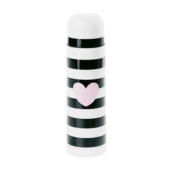 Thermos Bottle - Rose Heart with Black Stripes
