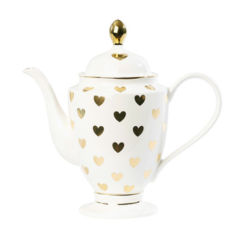 Tea/Coffee Pot with Big Gold Hearts