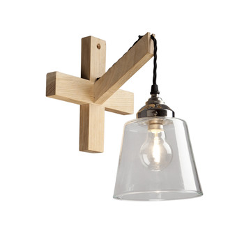 Oak Tapered Glass Wall Light