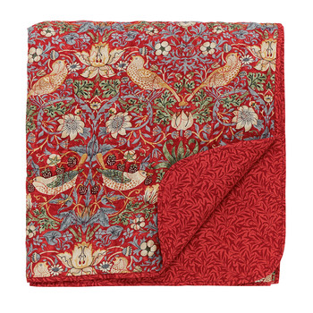 Strawberry Thief Quilted Throw - Crimson