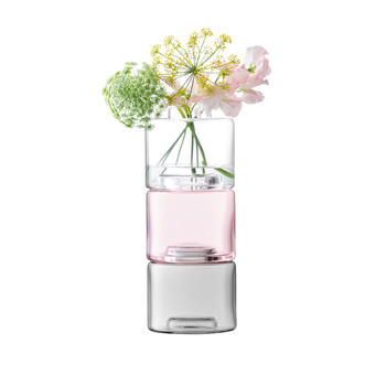 Stack Vase Trio - Clear/Petal Pink/Dove Grey - 30cm - Set of 3