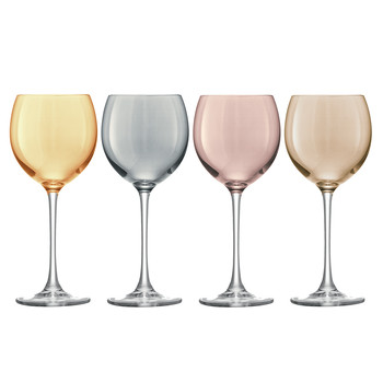 Polka Assorted Wine Glasses - Set of 4 - Metallic