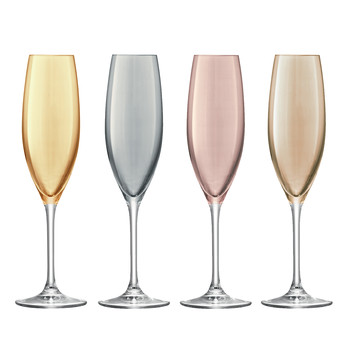 Polka Assorted Champagne Flutes - Set of 4 - Metallic