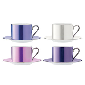 Polka Assorted Teacups & Saucers - Set of 4 - Pastel