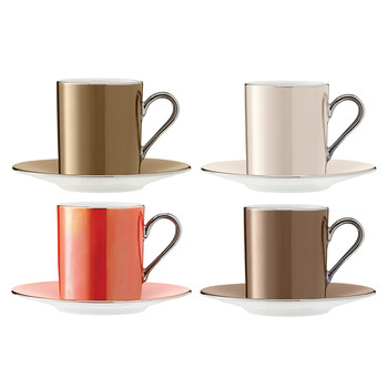 Polka Assorted Coffee Cups & Saucers - Set of 4 - Metallic