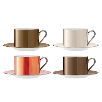 Polka Assorted Teacups & Saucers - Set of 4 - Metallic