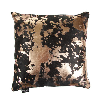 Acid Burnt Cowhide Pillow - 45x45cm - Chocolate/Bronze