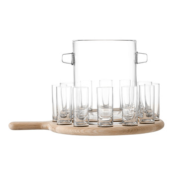 Paddle Vodka Serving Set & Oak Paddle - Clear