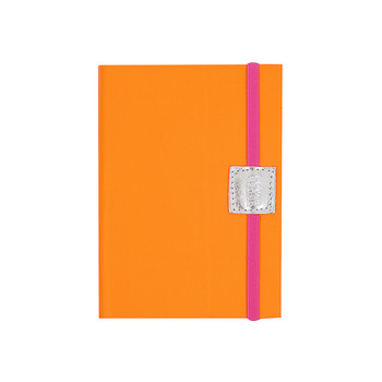 Recycled Leather Notebook Lined - Neon Orange
