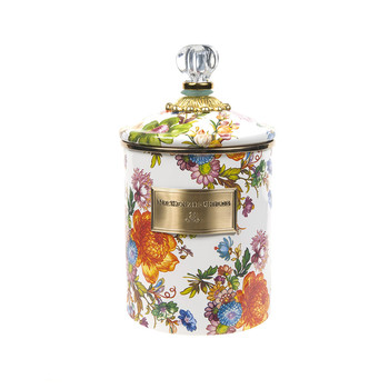 Flower Market Enamel Canister - White - Medium
