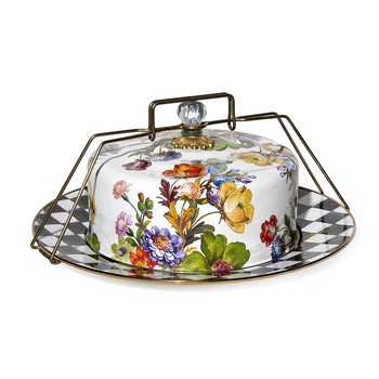 Flower Market Enamel Cake Carrier - White