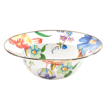Flower Market Enamel Serving Bowl - White
