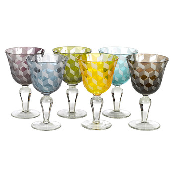 Wine Glass Blocks - Multicoloured - Set of 6