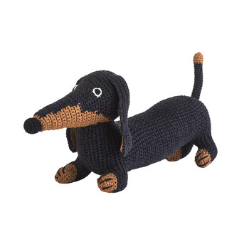 Medium Crochet Dachshund - Black Tan