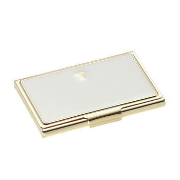 One in a Million Initial Business Card Holder - T (Cream)