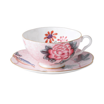 Cuckoo Teacup and Saucer - Pink