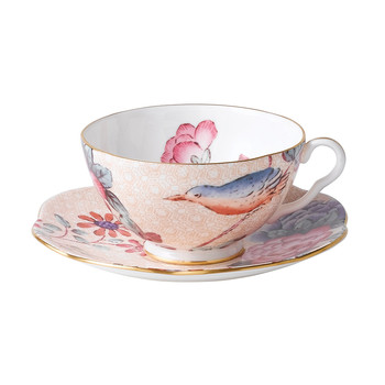 Cuckoo Teacup and Saucer - Peach