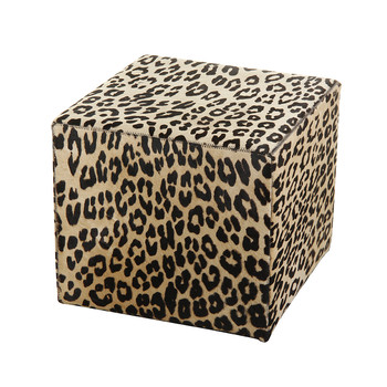 Panther Printed Cowhide Cube Pouf