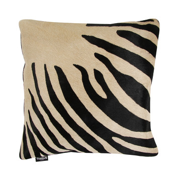 Zebra Print Cowhide Pillow - 45x45cm - Black / Beige