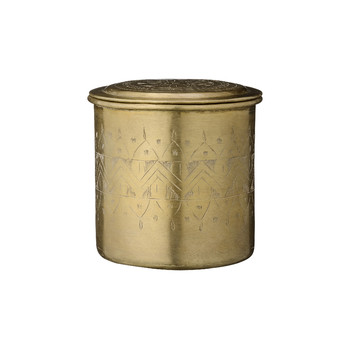Carved Brass Can with Lid