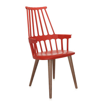 Comback Four Legs Chair - Orangy Red/Oak