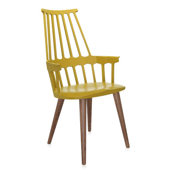 Comback Four Legs Chair - Yellow/Oak
