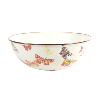 Butterfly Garden Enamel Everyday Bowl - White