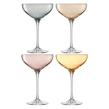 Polka Champagne Saucers - Set of 4 - Metallics Assorted